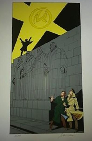 Schréder, Blake et Mortimer devant le mur des Réformateurs